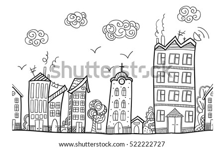 Town Street Repeated Ornament Hand Draw Stock Vector 522222727 ...