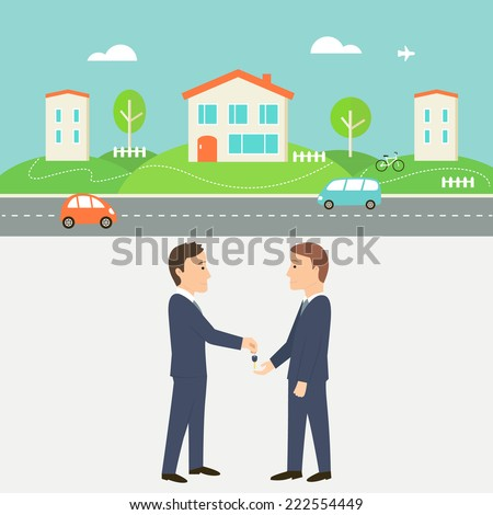 Town Street with Houses, Cars and Road. Real Estate Agent Giving a Key. Shared Economy and Collaborative Consumption Illustration.  - stock vector