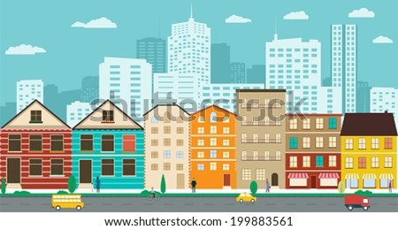 Town streets with views of the skyscrapers in a flat design - stock vector