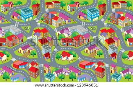 township for children mat - stock vector