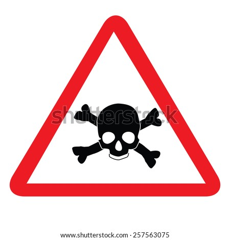 Toxic sign with skull and bones, alert sign, caution radioactive - stock vector