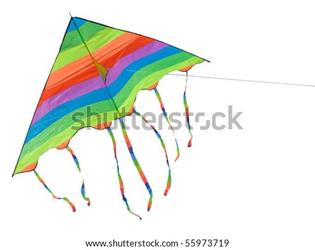 Toy a bright kite on a background of the blue sky - Isolated - stock vector