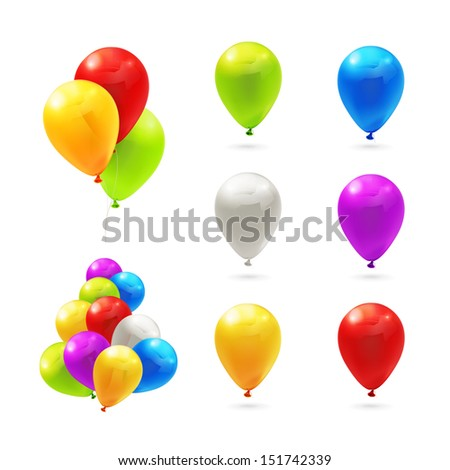 Toy balloons, set of vector icons - stock vector