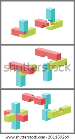 Toy bars and timbers are shown on white background. - stock vector