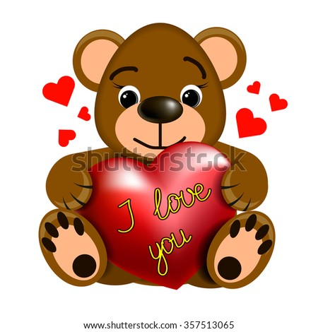Toy brown Teddy bear with heart and inscription I love you. - stock vector