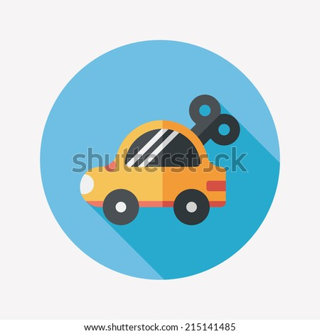 toy car flat icon with long shadow - stock vector