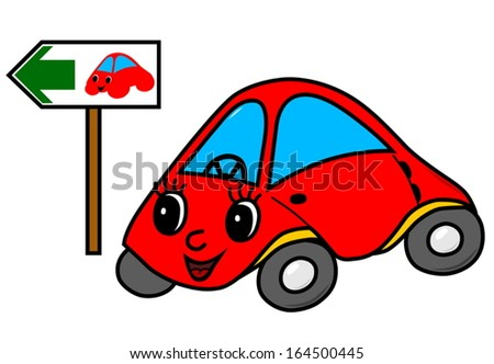 Toy car on green way (vector version; available as raster too) - stock vector