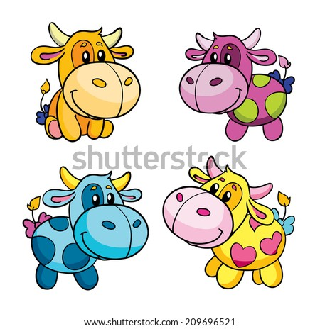 toy cow, set, vector illustration on white background