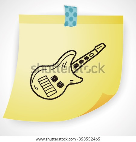 toy guitar doodle - stock vector