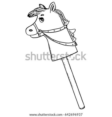 Toy Horse On Stick Pony Hobbyhorse Stock Vector HD Royalty Free