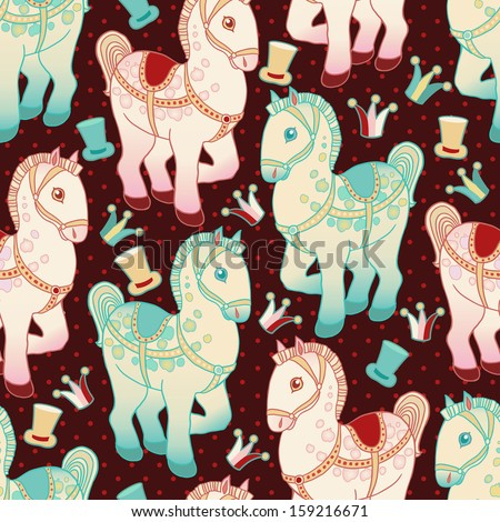 Toy horse vector seamless pattern. - stock vector