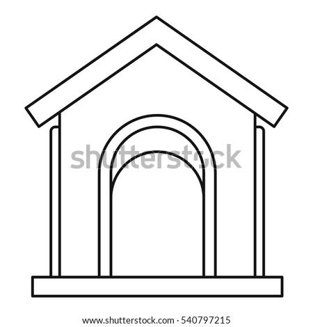 Toy house at playground icon. Outline illustration of toy house at playground vector icon for web