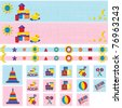 Toy icons and banners set in pink and blue color - stock vector