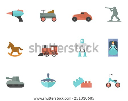 Toy icons in flat color style - stock vector