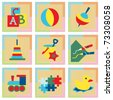 Toy icons in pastel colors - stock vector
