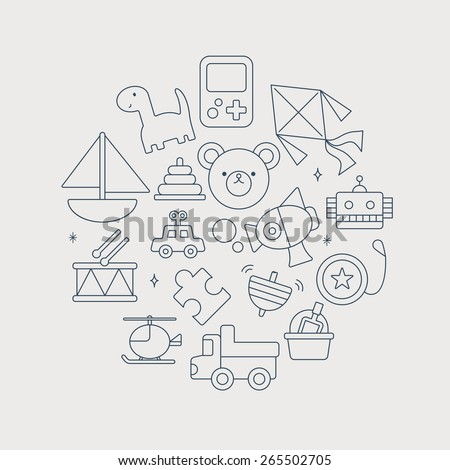 toy line icon circle set - stock vector