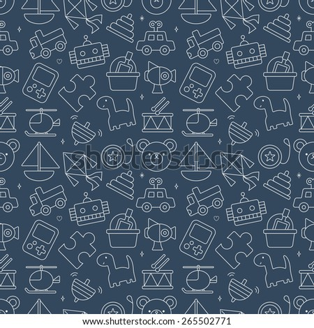 toy line icon pattern set - stock vector