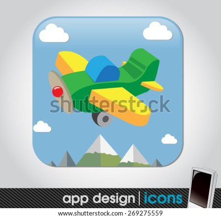 toy plane app for mobile devices  - stock vector