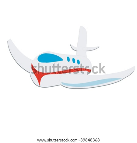 Toy plane, isolated on white background - stock vector