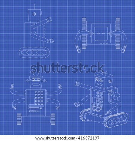 Toy robot blueprint toy robot white stock vector hd royalty free toy robot blueprint toy robot in a white background isolated vector set malvernweather Gallery