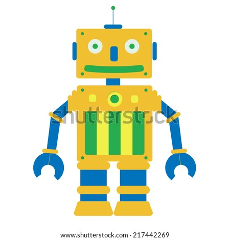 Toy robot. Toy robot in a white background. Isolated. - stock vector