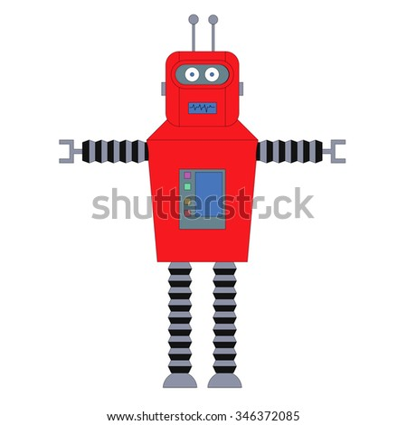 Toy robot. Toy robot in a white background. Isolated. Vector Illustration. - stock vector