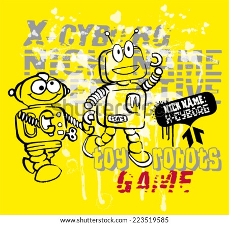 toy robots cartoon.Grunge vector artwork for baby and kid wear in custom colors  - stock vector