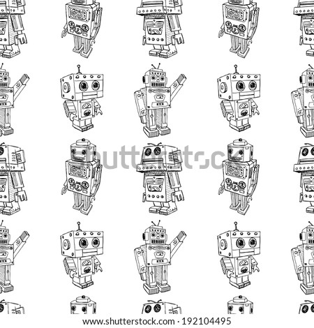 toy robots pattern - stock vector