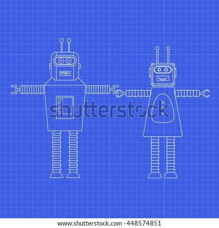 Toy robots. Robot boy and robot girl. Vintage vector blueprint. - stock vector