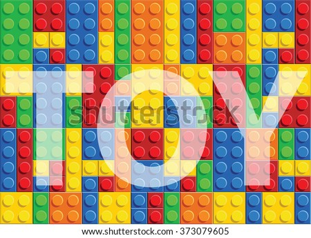 Toy - seamless vector pattern of plastic parts - stock vector