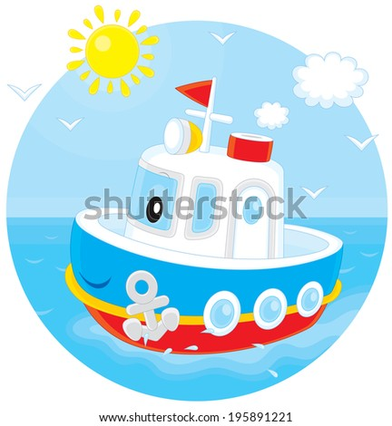 Toy ship floating on blue water
