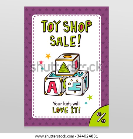Toy shop bright vector sale flyer design with toy blocks for learning letters, numbers and shapes isolated on white with purple starry pattern background - stock vector