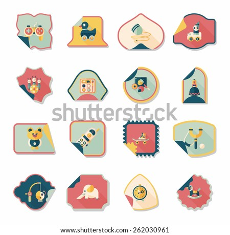 Toy sticker flat banner background set, eps10 - stock vector