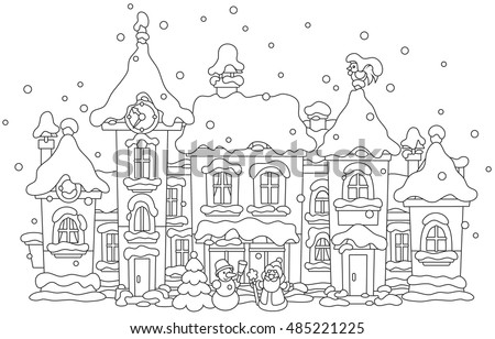 toy town covered with snow on Christmas