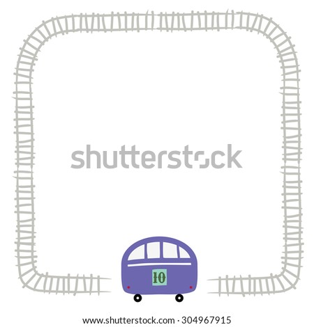 Toy train, locomotive, on railway. Vector illustration for kids with space for text insertion.  - stock vector