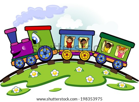 Toy train with children who greet on rails and lawn-editable- - stock vector