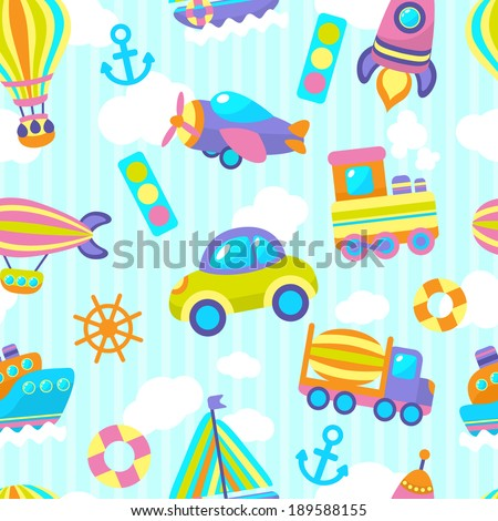 Toy transport cartoon seamless pattern with vehicles and clouds stripes on background vector illustration - stock vector