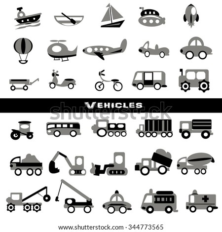 Toy transport set,gray color - stock vector