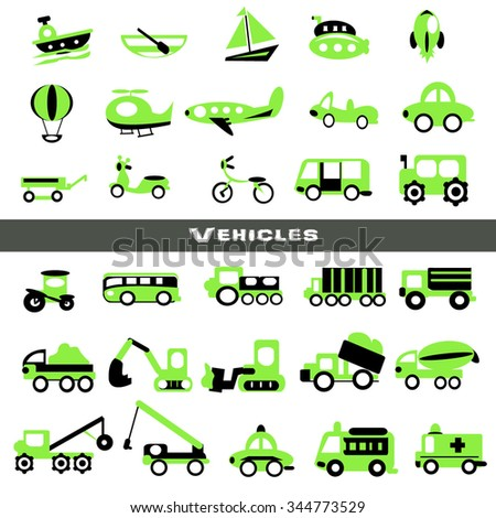 Toy transport set,Green color - stock vector