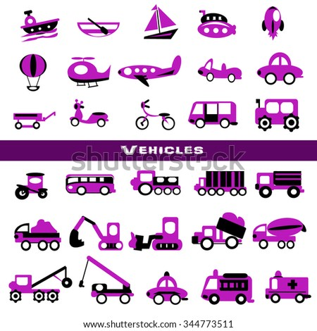 Toy transport set,purple color - stock vector