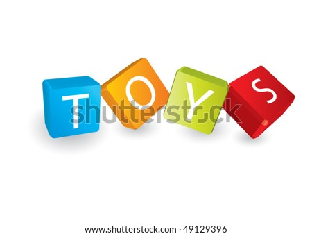 Toys (cube letters in editable vector format) - stock vector