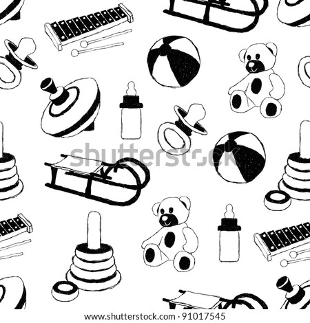 toys doodle pattern - stock vector