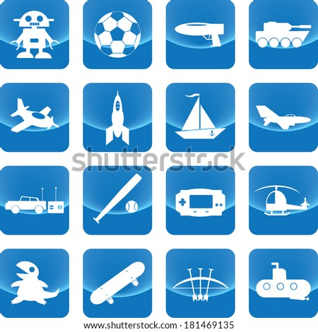 Toys for boy icon on blue button include gun, toy, car, jet, bow, icon, tank, ball, ship - stock vector