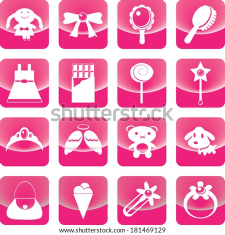 Toys for girl icon on pink button include wand, bear, doll, ring, candy - stock vector