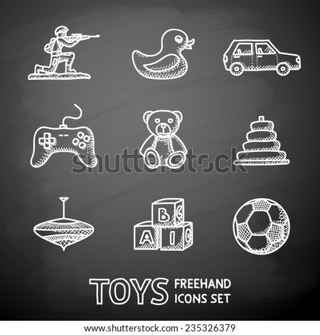 Toys hand drawn on a chalk board icons set with - car, duck, bear, pyramid, ball, game controller, blocks, whirligig, soldier. Vector