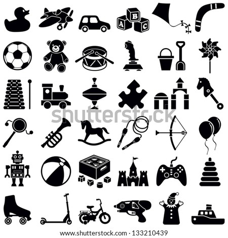 Toys icon collection - vector silhouette illustration - stock vector