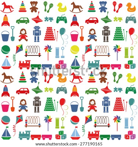 Toys icons. Colorful seamless pattern.