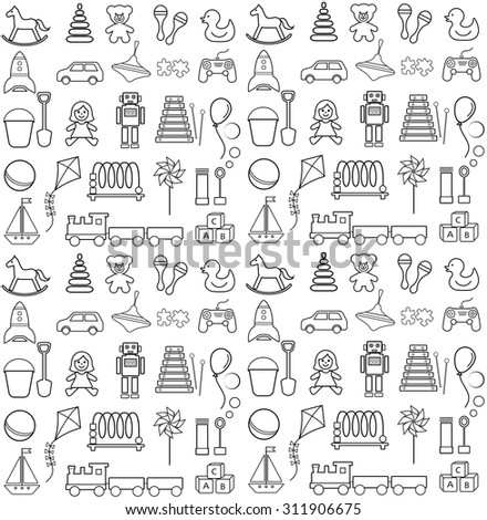 Toys icons contour. Seamless pattern. - stock vector
