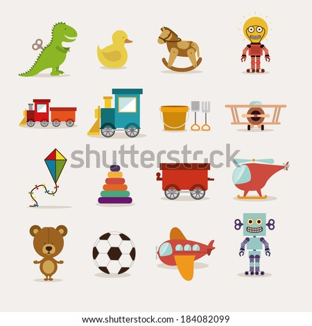 Toys icons on white background, Vector illustration - stock vector