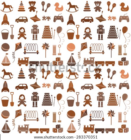 Toys icons. Seamless pattern. Retro style. - stock vector